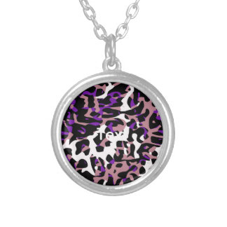 Purple Pink Cheetah Abstract Round Pendant Necklace