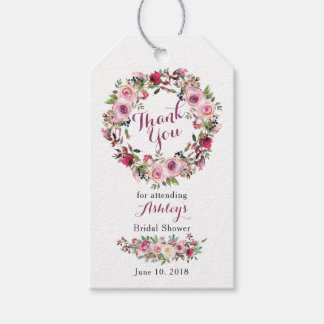 Purple Pink Chic Rose Bridal Shower Thank You Gift Tags