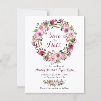 Purple Pink Chic Rose Floral Wedding Save the Date