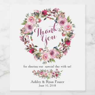 Purple Pink Chic Rose Floral Wedding Thank You Wine Label