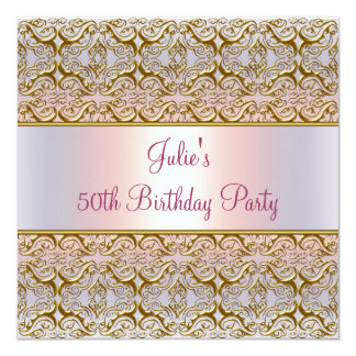 Purple Pink Damask Womans 50th Birthday Party Card
