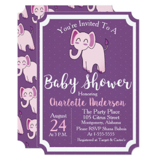 Purple & Pink Elephant Baby Shower Card