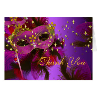 Purple Pink Feather Mask Masquerade Thank You Card