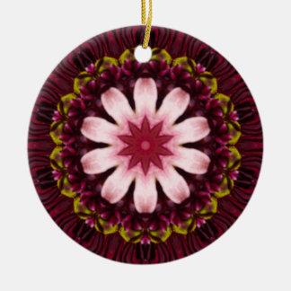 Purple Pink Floral Kaleidoscope Christmas Ornament