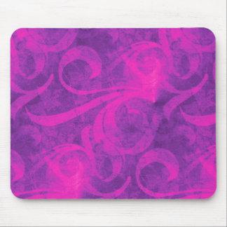 Purple Pink Floral Swirl Flourish Girly Pattern Mouse Pad