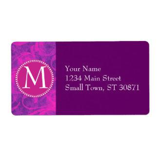 Purple Pink Floral Swirl Flourish Girly Pattern Shipping Label