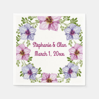 Purple Pink Floral Wreath Wedding Disposable Napkin