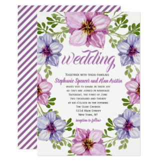 Purple Pink Floral Wreath Wedding Invitation