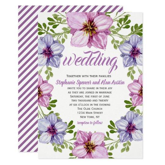 Purple Pink Floral Wreath Wedding Invitation