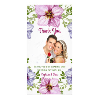Purple Pink Floral Wreath Wedding Thank You Photo Card