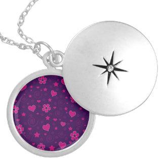 Purple pink flowers hearts stars swirls locket
