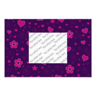 Purple pink flowers hearts stars swirls photographic print