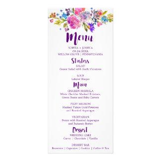 Purple & Pink Flowers Monogram Wedding Menu Card