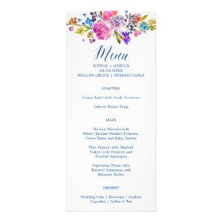 Purple & Pink Flowers Monogram Wedding Menu Rack Card Design