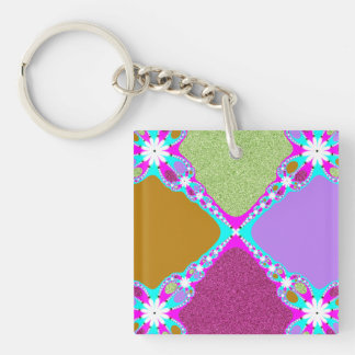 Purple Pink Fractal Key Ring