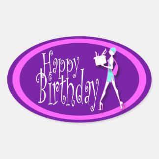 Purple pink girls birthday shopping oval sticker