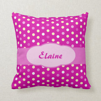 Purple pink girls name polka dot pillow