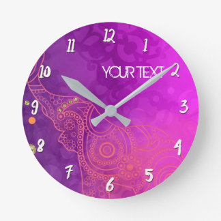 Purple Pink Glam Elephant Personalized Custom Round Clock