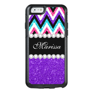 Purple Pink Glitter Aqua Blue Black White Chevrons OtterBox iPhone 6/6s Case
