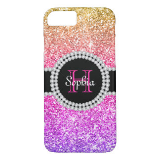 Purple Pink Glitter Gold Ombre Monogram iPhone 8/7 Case