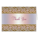 Purple PInk Gold Damask Thank You Cards Note Card