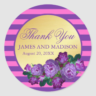Purple, Pink, Gold Wedding Personalized Thank You Classic Round Sticker