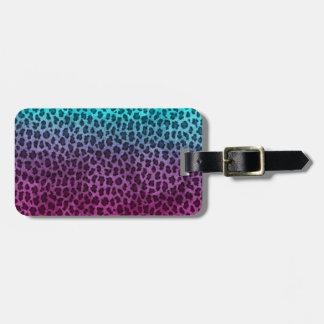 Purple Pink Green Cheetah Print Luggage Tag