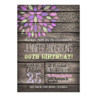 Purple, Pink, Green Flower Rustic Wood Birthday 13 Cm X 18 Cm Invitation Card