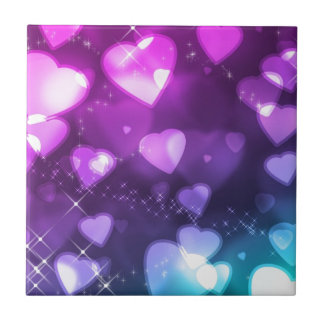 Purple Pink Hearts Ceramic Tile