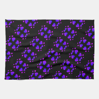 purple pink hearts pattern for kitchen towel
