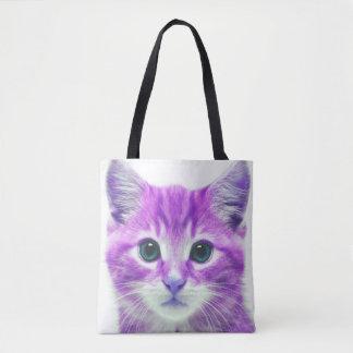 PURPLE PINK KITTEN KITTY CAT TOTE BAG