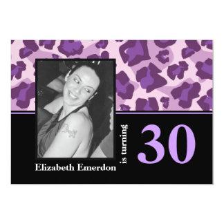 Purple pink leopard print 30th birthday photo invite