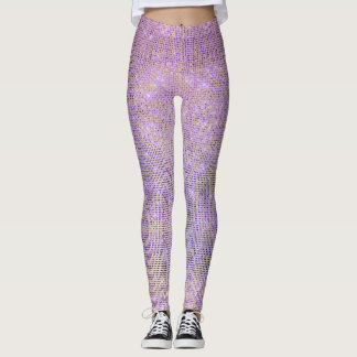 Purple Pink Lilac Grill Sparkly Sequin Diamond Leggings