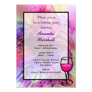 Purple Pink Modern Abstract Fractal Birthday 13 Cm X 18 Cm Invitation Card
