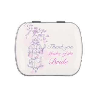 Purple pink mother of the bride wedding candy jelly belly tin
