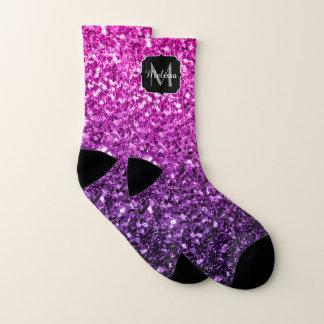 Purple Pink Ombre glitter sparkles Monogram 1