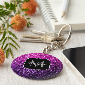 Purple Pink Ombre glitter sparkles Monogram Key Ring
