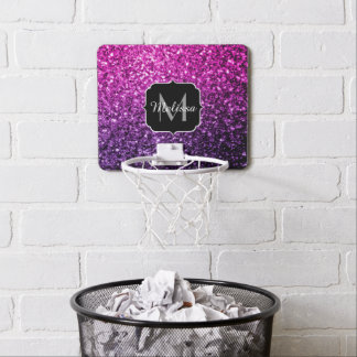 Purple Pink Ombre glitter sparkles Monogram Mini Basketball Hoop