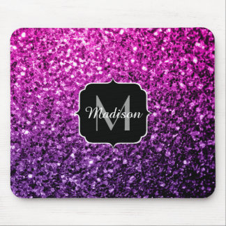 Purple Pink Ombre glitter sparkles Monogram Mouse Pad