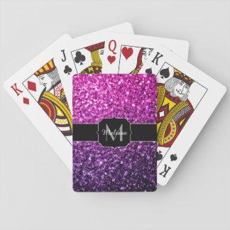 Purple Pink Ombre glitter sparkles Monogram Poker Deck