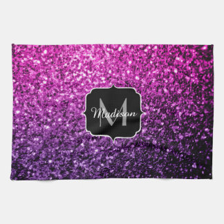 Purple Pink Ombre glitter sparkles Monogram Tea Towel