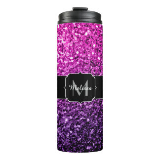 Purple Pink Ombre glitter sparkles Monogram Thermal Tumbler
