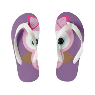 Purple & Pink Owl Flip Flops Thongs