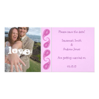 Purple Pink Paisley Save the Date  Your Photo Personalised Photo Card