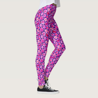 Purple pink pansy watercolor art pattern leggings