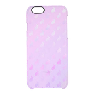 Purple Pink Pastel Bunny Background Faux Foil Clear iPhone 6/6S Case