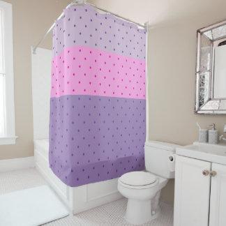 Purple & Pink Polka Dots on Lighter Purple & Pink Shower Curtain