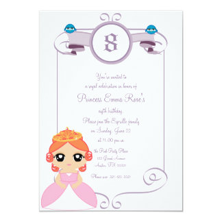 "purple &  PINK PRINCESS birthday party invitation 5"" X 7"" Invitation Card"