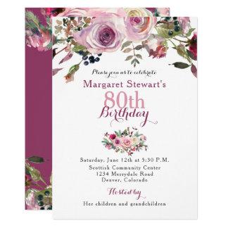Purple Pink Rose 80th Birthday Invite