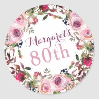 Purple Pink Rose Floral 80th Birthday Classic Round Sticker